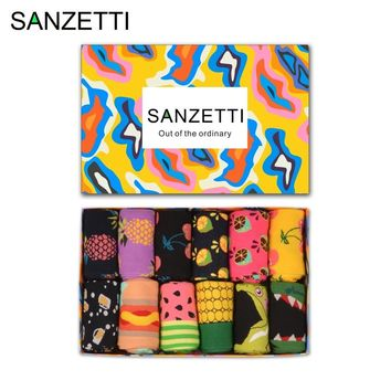 SANZETTI  12 pairs/lot Gift Box Men's Novelty Fruit Funny Socks Colorful Combed Cotton Corn Space Man Watermelon Colorful Socks