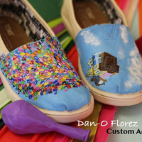 Disney Pixar Up inspired painting with hidden mickeys on TOMS or Vans. Artwork and Shoes are included