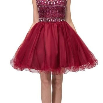 Burgundy Beaded Short Prom Dress with Illusion Neckline