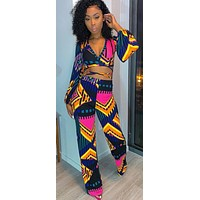 Women Colorful Printed Two Piece Wrapped Crop Top Pant Set