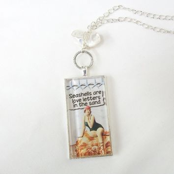 Love Letters beach domino pendant, vintage swimsuit art pendant, wire wrapped Biwa pearl beach necklace, silver chain adjustable necklace