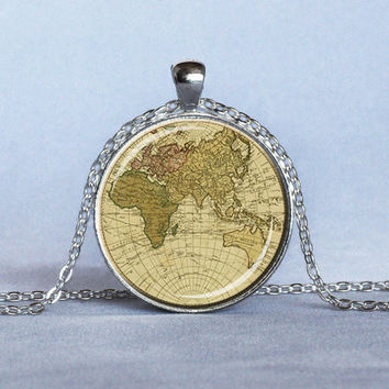 Shop world traveler necklace on wanelo vintage map pendant beige mauve green old world map necklace map gumiabroncs Gallery