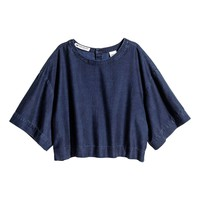 Short lyocell-blend denim top