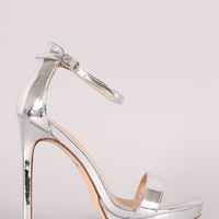 Mirror Metallic Ankle Strap Stiletto Platform Heel