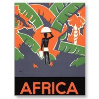 Vintage Art Deco Travel Poster, Africa Postcard