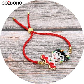Go2boho Dropshipping Frida Kahlo Bracelet MIYUKI Bracelets Seed Beads Frida Jewelry Red Rope Cord Loom Woven Women Her Gifts