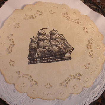 Vintage Inspired Nautical Ship Doilies - New to Etsy