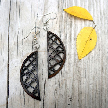 Crescent Wood Earrings