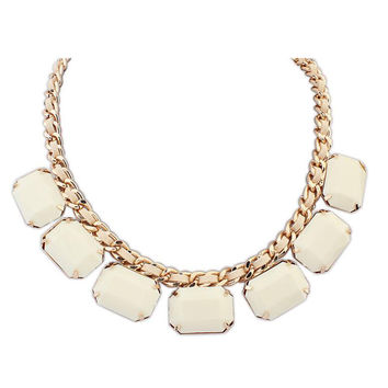 White Square Stone Drop Chunky Necklace