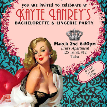 907ab3ba2 Vintage Pin Up Girl Invitation- Bachelorette party