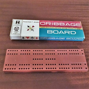 Vintage 1960s Milton Bradley's Pocket Size Cribbage Board in Original Box / Retro Card Game with Instructions and all Six Scoring Pegs