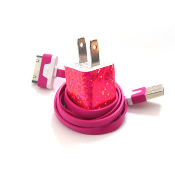 Hot Pink Glitter Fun iPhone Charger with Color by PersonalPower