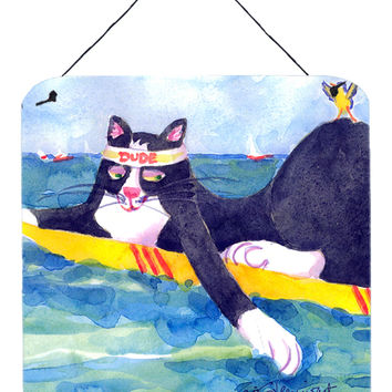 Black and white Cat Surfin Bird Aluminium Metal Wall or Door Hanging Prints