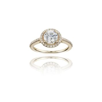 Yellow Gold Pave Halo Engagement Ring, 14K with Clear CZ