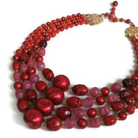 "Vintage Lucite Necklace - 1950's Red 4-Strand Necklace with Pink Accents - Japan - 16"" extends to 19"""