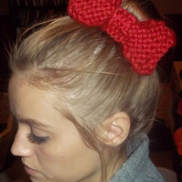 Cozy Knit Bow Hair Clip RED