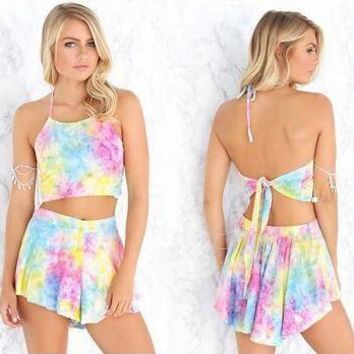 Tie Dyed Halter Crop Top and Shorts Set