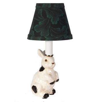 Tiny White & Black Bunny Rabbit Porcelain Lamp