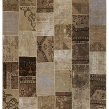 ANATOLIA OVER DYED PATCHWORK UNIQUE RUG 7'9'' X 9'11'' FT 237 X 303 CM
