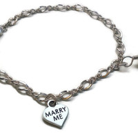 Marry Me .925 Sterling Silver and Swarovski Crystal Charm Bracelet - BRC087