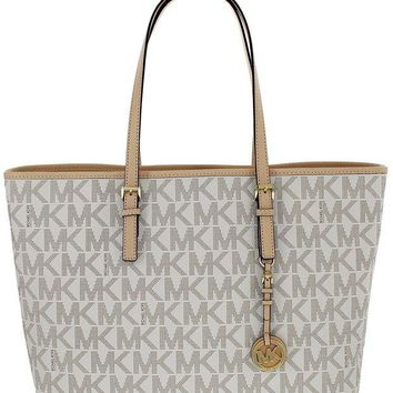 DCCKUG3 Michael Kors Jet Set Travel Medium Multifunction Tote in MK Signature