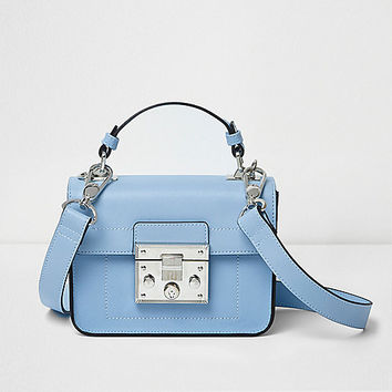 Blue lock front mini satchel cross body bag - cross body bags - bags / purses - women