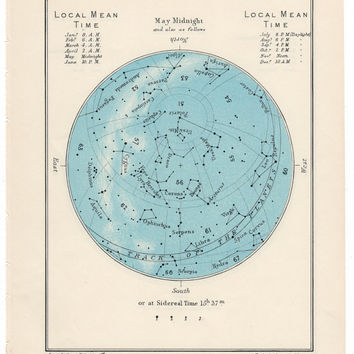 1955 may or june vintage star map celestial print
