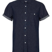 Indigo Short Sleeve Denim Shirt - Men's Shirts  - Clothing