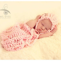 Baby girl photo prop, Pink Newborn Prop Set, Lace Knit Baby Wrap, Basket Stuffer, Basket Filler, Baby Bonnet