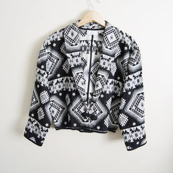 Diamonds In The Sky - Vintage Black White Weaved Tribal Print Cropped Coat Jacket