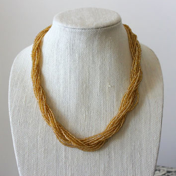 Gold Seed Bead Twisted Statement Necklace.  Gold Necklace.  Chunky Neckalce.  Womens Necklace.  Gifts for Her.  Beaded Necklace