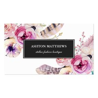 Watercolor Boho Flowers and Feathers Professional Business Card