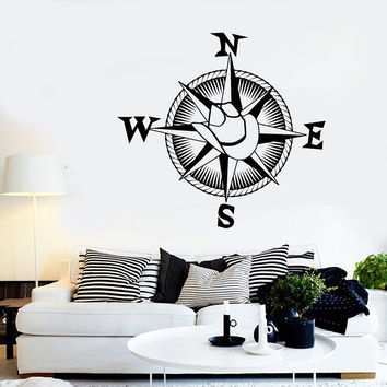 Vinyl Wall Decal Cowboy Hat Compass Nautical Travel Western Style Stickers Unique Gift (1476ig)