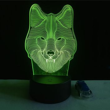 WOLF HEAD 3D LED LIGHT