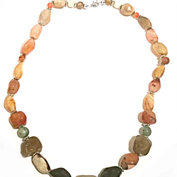 Multi Color Earthtone Gemstone necklace