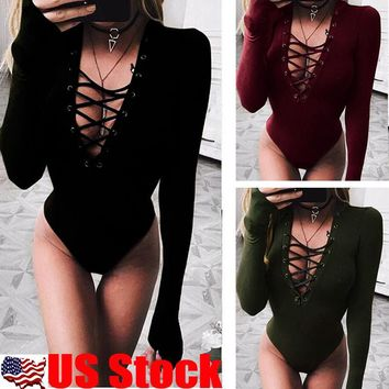 US Womens Lace up Bandage Stretch Tight Bodysuit Jumpsuit Leotard Top Blouse Tee