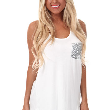 White Bow Back Tank with Sequin Pocket