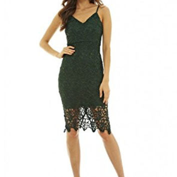 Green V-Neck Spaghetti Strap Crochet Midi Dress