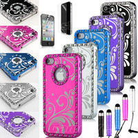 For iPhone 4 4S 4G Aluminum Metal Chrome Hard Case Cover+ Screen Protector + Pen