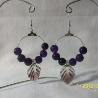 Silver Hoops with Purple Glass Beads on silver French wires