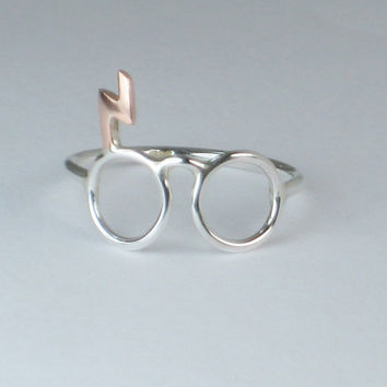 Harry Potter Ring Glasses w COPPER Scar Sterling by HollyPresley
