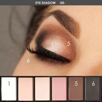 Makeup Professional Eyes Shadow Pigments Mineral Powder 6 Color Focallure Matte Nude Eyeshadow Palette