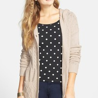 Junior Women's BP. Hooded Cable Knit Cardigan