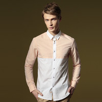 Men Stylish Slim Long Sleeve Cotton Shirt Men's Fashion Korean Blouse [6541336003]