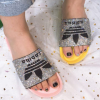 Adidas New  Summer Fashion Clover shining Diamond Slipper Female shoes two color