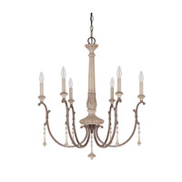 Capital Lighting Fixture Company 4096FO Chateau French Oak Six Light Chandelier with Solid Wood Column