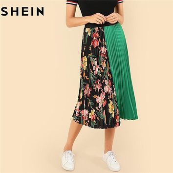 SHEIN Summer Knee-Length Mid Waist Floral Boho Women Pleated Skirt Fashion Polyester Clothing Eelastic Waist Vacation Skirt