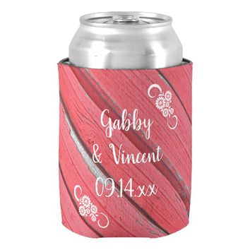 Rustic Red Barn Wood Country Wedding Favors Can Cooler