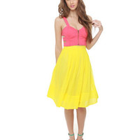 Pretty Pleated Skirt - Yellow Skirt - Knee Length Skirt - $57.00