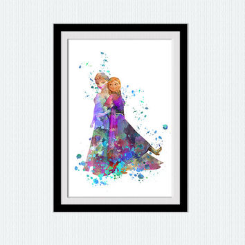 Elsa and Anna watercolor art print Frozen colorful poster Disney princess decor Home decoration Kids room wall art Nursery decor W495